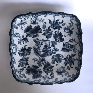 Square Footed Dish Blue White Floral Crackle Glaze